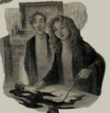 Sketch with Hermione performing a spell with her wand in front of an open book with Ron stood behind watching her