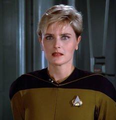 """Denise Crosby, as Lieutenant Natasha """"Tasha"""" Yar"""