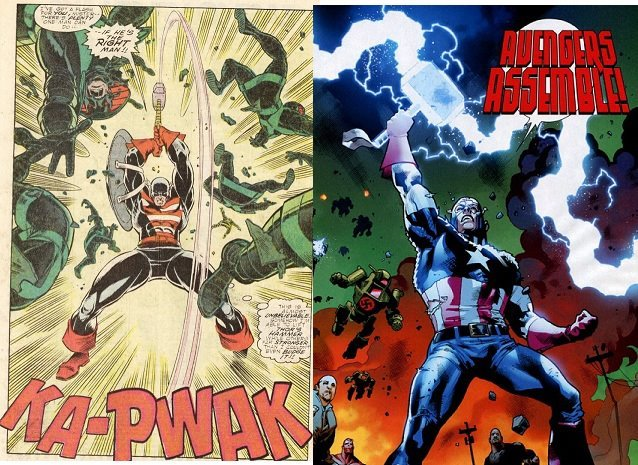 """Comic panel of Captain America holding Mjolnir as lightning strikes, with the caption """"AVENGERS ASSEMBLE!"""" In the background are green robots with a red swastika."""