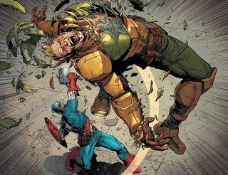 Secret Empire Cap lifts Mjolnir and hits Hydra Cap with it
