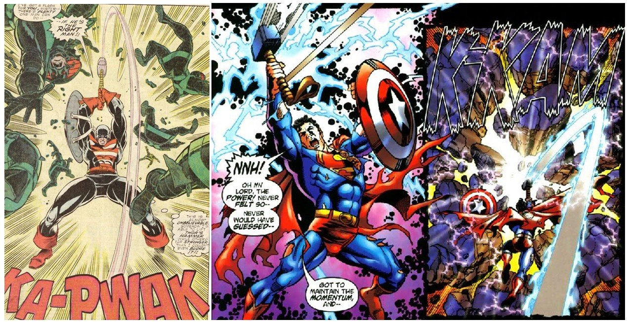 """Two distinct comic panels. On the left is Captain America holding Mjoldir, while thinking """"This is almost unbelievable! Somehow I'm able to lift Thor's hammer while others far stronger than I couldn't even budge it!!"""" On the right is Superman holding both Mjolnir and Captain America's shield and breaking through a wall."""