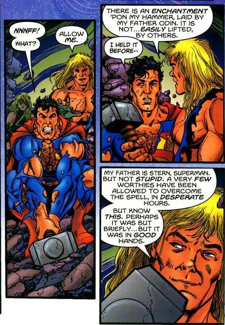 """Superman attempting to lift Mjolnir but finds he is unable to. Thor says """"allow me"""", and then the dialogue described above."""